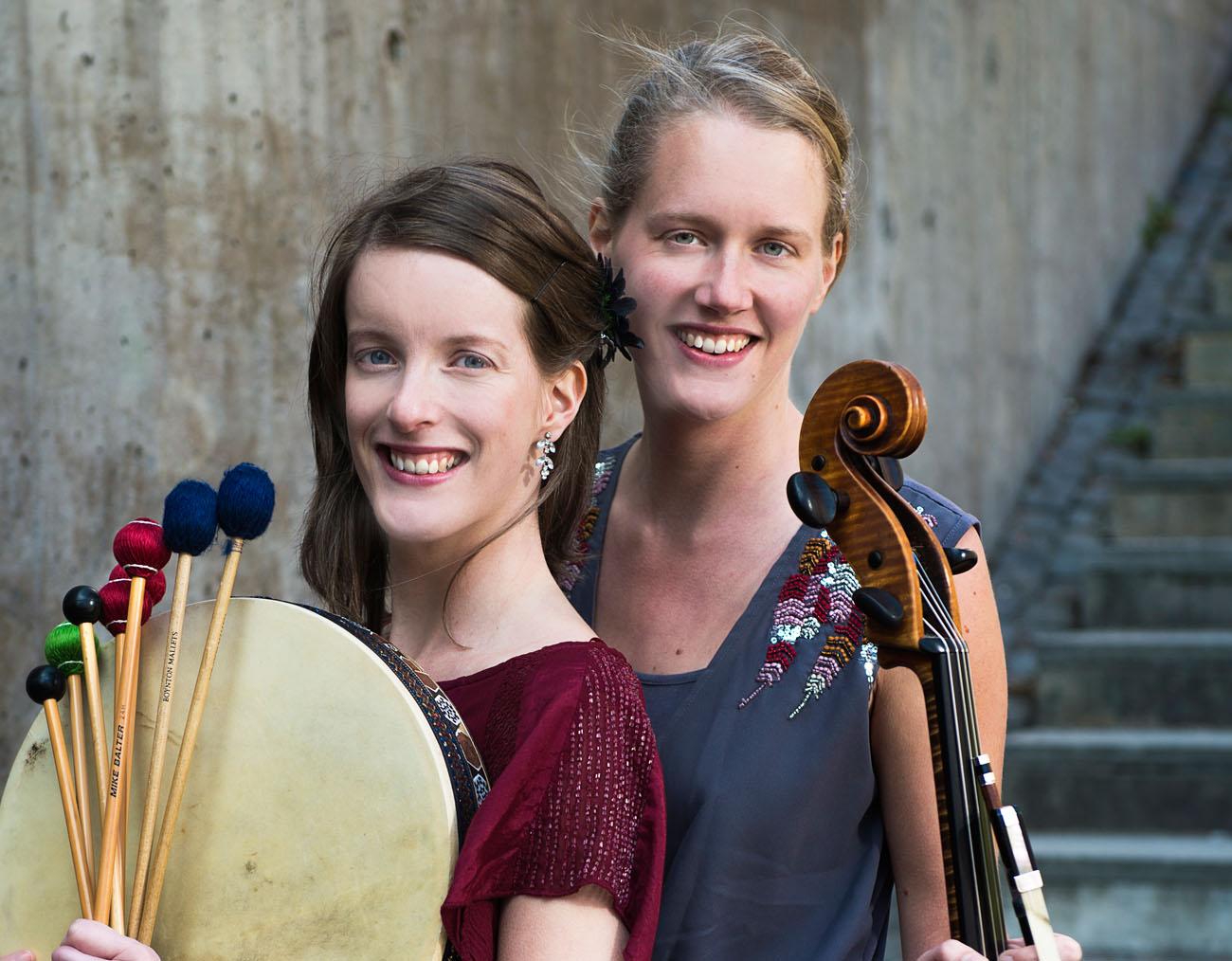 UmeDuo: Erika Öhman, slagverk, Karolina Öhman, cello. Foto : Jonas Bilberg